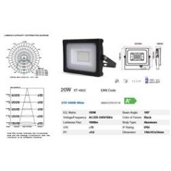 FOCO LED NEGRO 20W SMD 6000K (BLANCA) VT4922 VTAC ALC