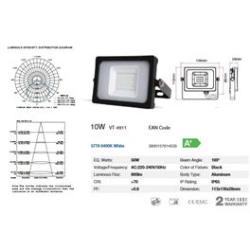FOCO LED NEGRO 10W SMD 6000K (BLANCA) VT4911